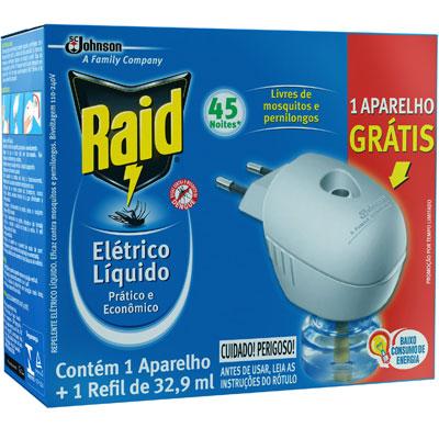 INSETICIDA RAID ELETRICO 45 NOITES REFIL 33ML GTS APARELHO