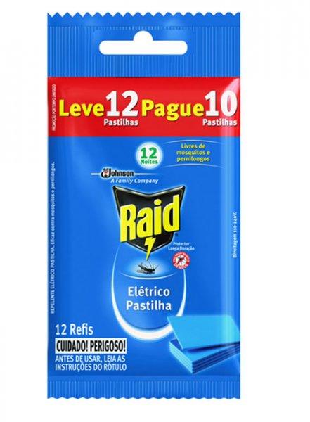 INSETICIDA RAID ELETRICO PASTILHA 12H REFIL LV12 PG10