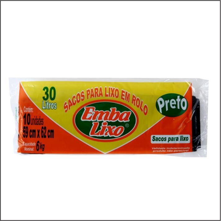 SACO PARA LIXO EMBALIXO PRETO 30L COM 10